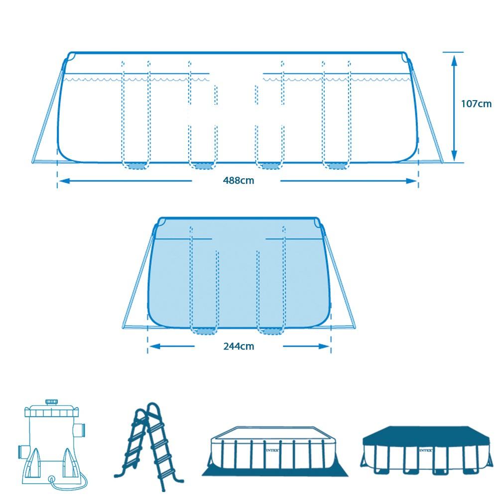 Piscina fuori terra intex prism frame rettangolare cm for Piscina fuori terra 400x200x100